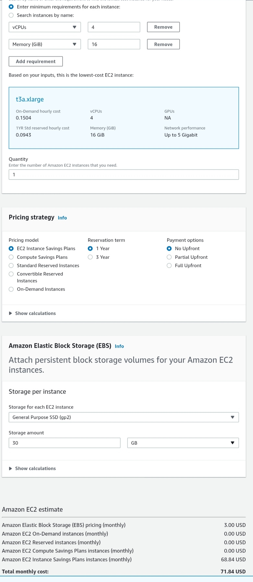 AWS instance 4cr 8gb cost