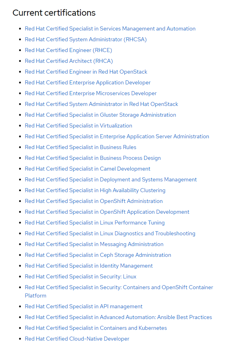 red hat certifications