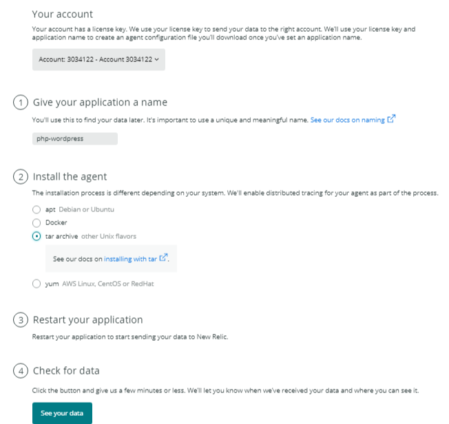 install new relic php agent